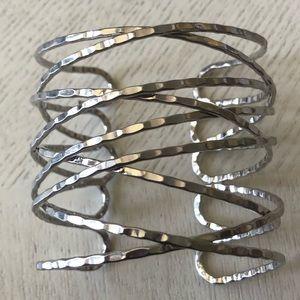 Silver Crisscross Abstract Bracelet